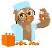 Owl doctor holding pill. Owl Ambulance in white coat Stock Photography