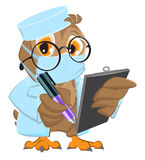 Owl Doctor in mask holds clipboard and pen. On white vector cartoon illustration Royalty Free Stock Photography