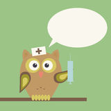 Owl-doctor with syringe Royalty Free Stock Photo
