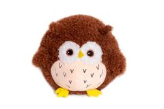 Owl doll brown fur, isolated on white background stock photo