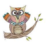 Owl Doodle avec le vecteur de fleur Images libres de droits