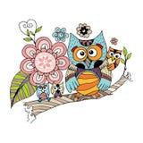 Owl Doodle avec le vecteur de fleur Photo stock