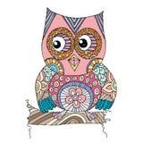 Owl Doodle avec le vecteur de fleur Photos stock