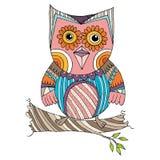 Owl Doodle avec le vecteur de fleur Photos libres de droits