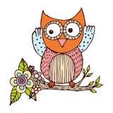 Owl Doodle avec le vecteur de fleur Image libre de droits