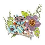 Owl Doodle com vetor da flor Fotografia de Stock