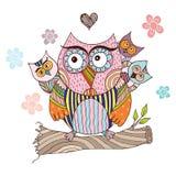 Owl Doodle con il vettore del fiore Fotografia Stock Libera da Diritti