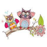 Owl Doodle con il vettore del fiore Fotografia Stock
