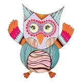 Owl Doodle con il vettore del fiore illustrazione di stock