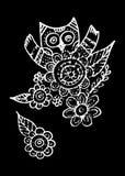 Owl Doodle Freehand avec le vecteur de fleur Photographie stock