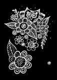 Owl Doodle Freehand met Bloemvector stock illustratie