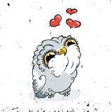 Owl Doodle Illustration mignon Photo grunge de Kawaii Illustration Stock