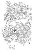 Owl Doodle med blommavektorn Arkivfoton
