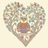 Owl Doodle met Bloemvector Stock Fotografie