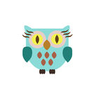 Owl drawing. Cute blue owl cartoon style Royalty Free Stock Images