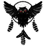 Owl with dreamcatcher vector illustration
