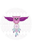 Owl with Dreamcatcher. Cute cartoon Owl with Dreamcatcher Royalty Free Stock Images