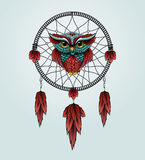 Owl with Dreamcatcher on a white background. Royalty Free Stock Images