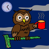 Owl drinking coffee and cant sleep  Royalty Free Stock Image