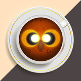 Owl drinking coffee Stock Images