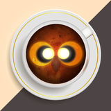 Owl drinking coffee royalty free illustration