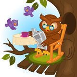 Owl drinking tea and reading a newspaper royalty free illustration