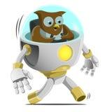 Owl Driving um robô ilustração stock