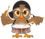 Owl drummer. Owl beats the drum Stock Photo
