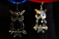 Owl earrings Royalty Free Stock Photography