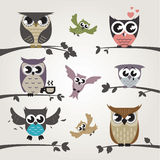 Owl emotions Stock Images