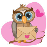 Owl with envelope Stock Photography