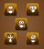 Owl expression icons Royalty Free Stock Image