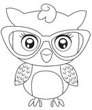 Owl with eyeglasses coloring page Royalty Free Stock Image