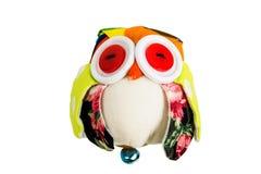 Owl fabric Doll handmade on white background Royalty Free Stock Photos