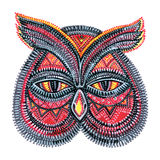 Owl face. Ornamental animal face, markers points Stock Photography