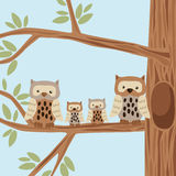 Owl Family. On the Tree Vector Illustration