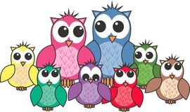 Owl family stock illustration
