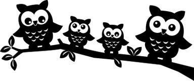 Owl Family Immagine Stock