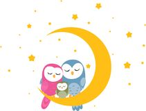 Owl Family Photo libre de droits