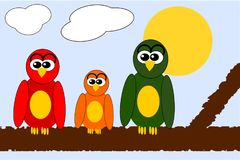 Cartoon Owl Family on a Branch royalty free illustration