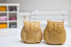 Owl Family. Closeup of owl shaped handmade soap white background stock photography