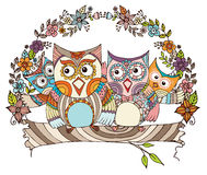 Owl Family Doodle  Royalty Free Stock Photos