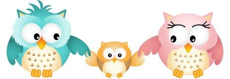 Owl Family felice Fotografia Stock Libera da Diritti