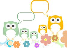 Owl family with flowers and speech bubbles Stock Photos