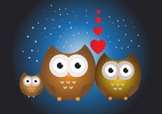Owl family illustration Stock Photos