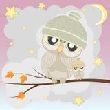 Owl Family sull'albero Fotografie Stock Libere da Diritti