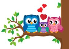 Owl family theme image 2 Stock Image