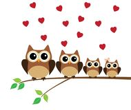 Owl Family Valentine Background With Red Hearts. Vector illustration of owl family in the tree with red hearts royalty free illustration