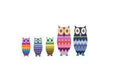 Owl Family Vector Fotografie Stock Libere da Diritti
