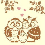 Owl family. Vector illustration silhouette cute cartoon family owls Stock Images